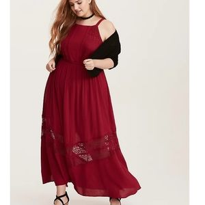 Torrid red gauze and lace maxi dress